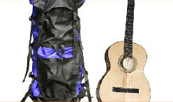 guitar and rucksack for camping
