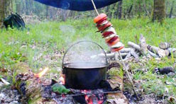 outdoor cooking over the campfire
