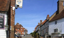 looking up at Goudhurst high street