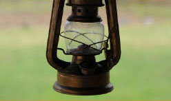 camping lantern old style in daylight