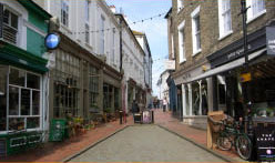 Tunbridge Wells Back Street shopping a short distance from Bedgebury Camping