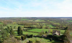 view from Goudhurst Church of the weald of kent